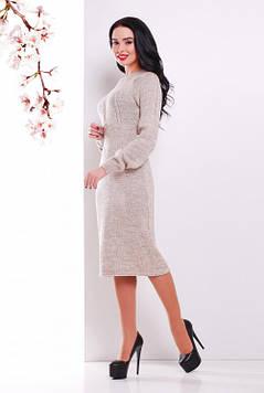 Женское вязаное платье капучино 44-48