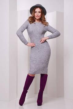 Стильное вязаное платье темно-серое 42-46