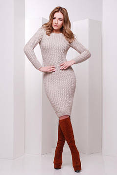 Стильное вязаное платье капучино 42-46