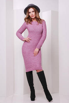 Стильное вязаное платье сирень 42-46