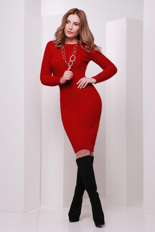 Стильное вязаное платье красное 42-46