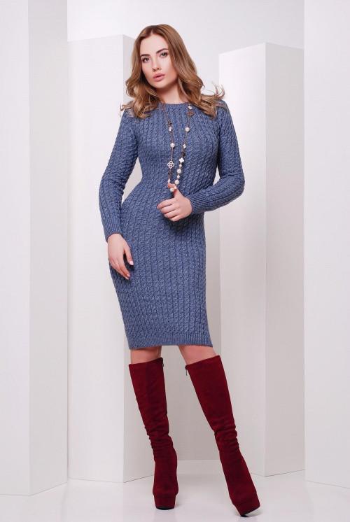 Стильное вязаное платье светлый джинс 42-46