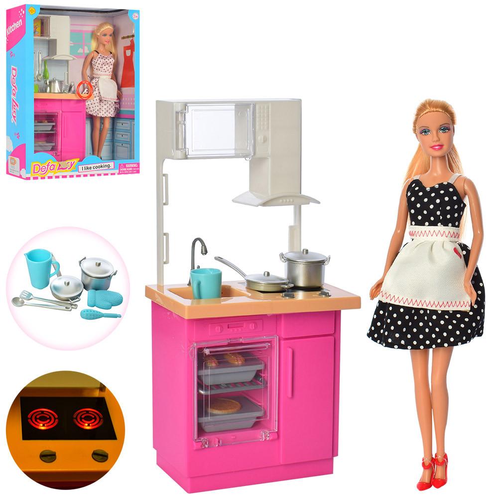 Кукла DEFA 30см, кухня,мебель31-14,5см,посуда,свет,2цв, бат-таб,в кор, 25,5-32-9,5см