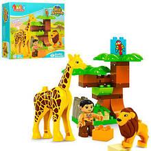 Конструктор JDLT зоопарк, фигурка,лев,жираф-звук,бат(табл),26дет