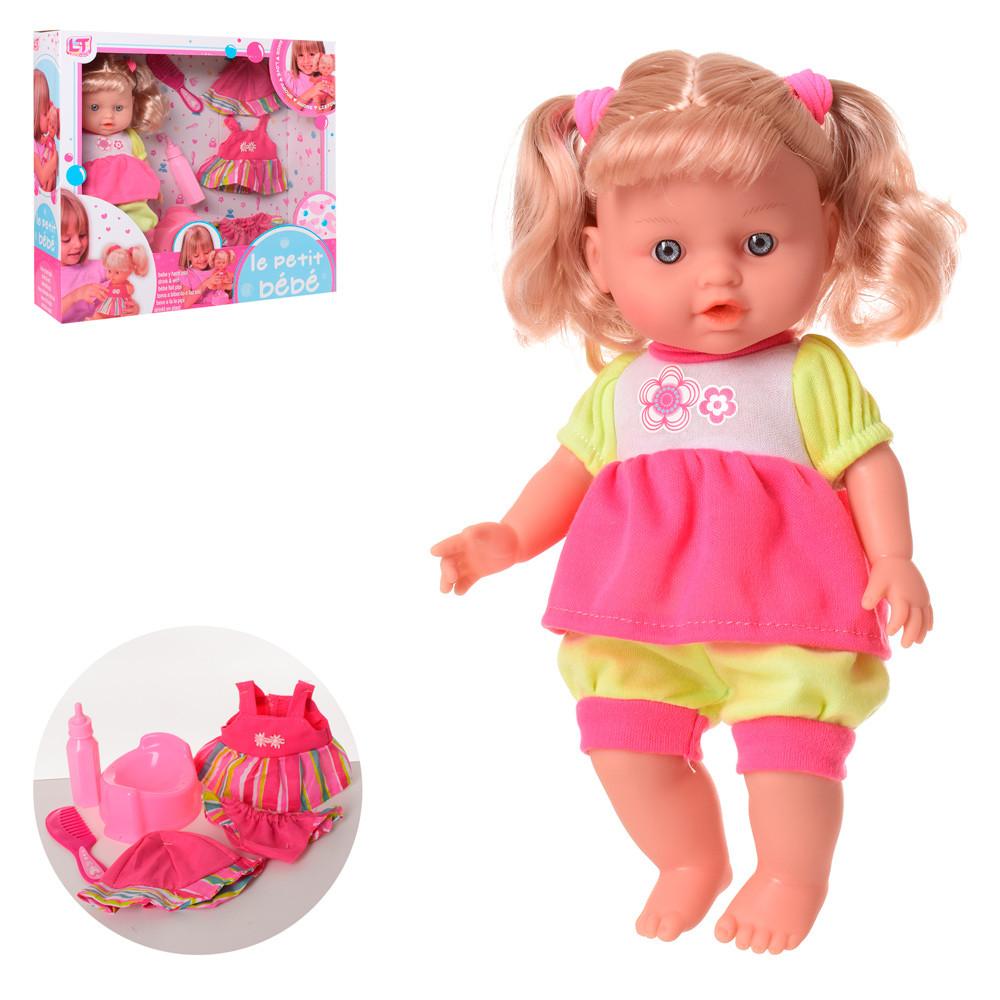 Кукла 29см, пьет-писяет, горшок, наряд, бутылочка, расческа