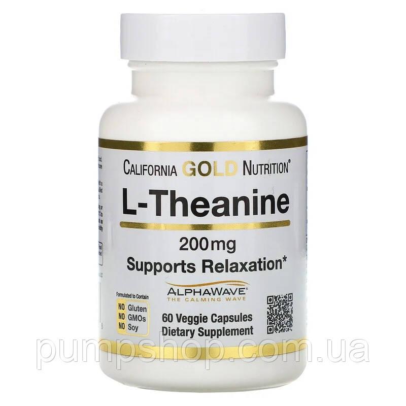 Аминокислота Л-Теанин California Gold Nutrition L-Theanine AlphaWave 200 mg 60 капс.