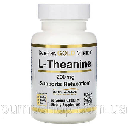 Аминокислота Л-Теанин California Gold Nutrition L-Theanine AlphaWave 200 mg 60 капс., фото 2