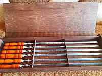 Шампура 6 шт с деревянной ручкой с индивидуальной гравировкой в подарочной коробке