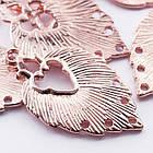 Коннектор Лист Металл, 6 отверстий, Цвет: Розовое Золото, Размер: 34х20х1.5мм, Отверстие 1~2мм/ Упак.: 5 шт, фото 2
