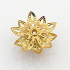 Шапочки для Бусин, Цветок, Латунь, Цвет: Золото, Размер: 16x8мм, Отверстие 1мм/ Упак.: 4 шт, фото 3