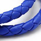 Шнур Искусственная Кожа, Плетеный, Цвет: Синий, Размер: Диаметр 6мм/ Упак.: 1 м, фото 2