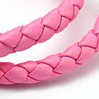 Шнур Искусственная Кожа, Плетеный, Цвет: Розовый, Размер: Диаметр 6мм/ Упак.: 1 м, фото 2