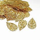 Кулон Капля Филигранный Железный, Цвет: Золото, Размер: 38x22x0.7мм, Отверстие 0.8мм, (УТ100014975), фото 2