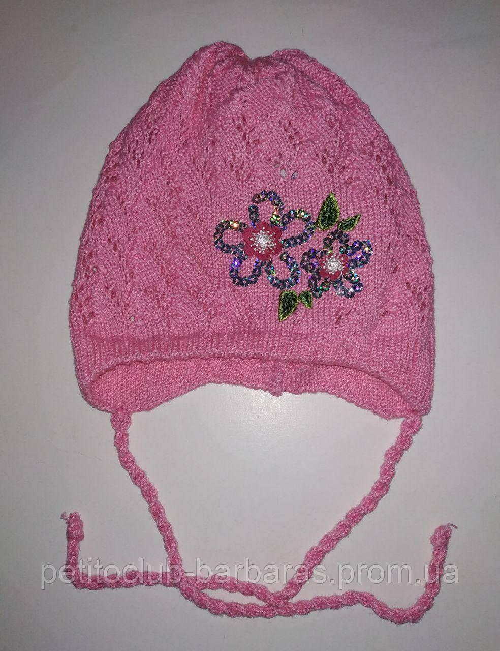 Детская ажурная шапка для девочки с цветком розовая (AJS, Польша)