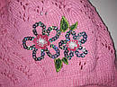 Детская ажурная шапка для девочки с цветком розовая (AJS, Польша), фото 3