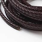 Шнур Натуральная Кожа, Плетеный, Цвет: Черный, Размер: Диаметр 4мм/ Упак.: 1 м, фото 2