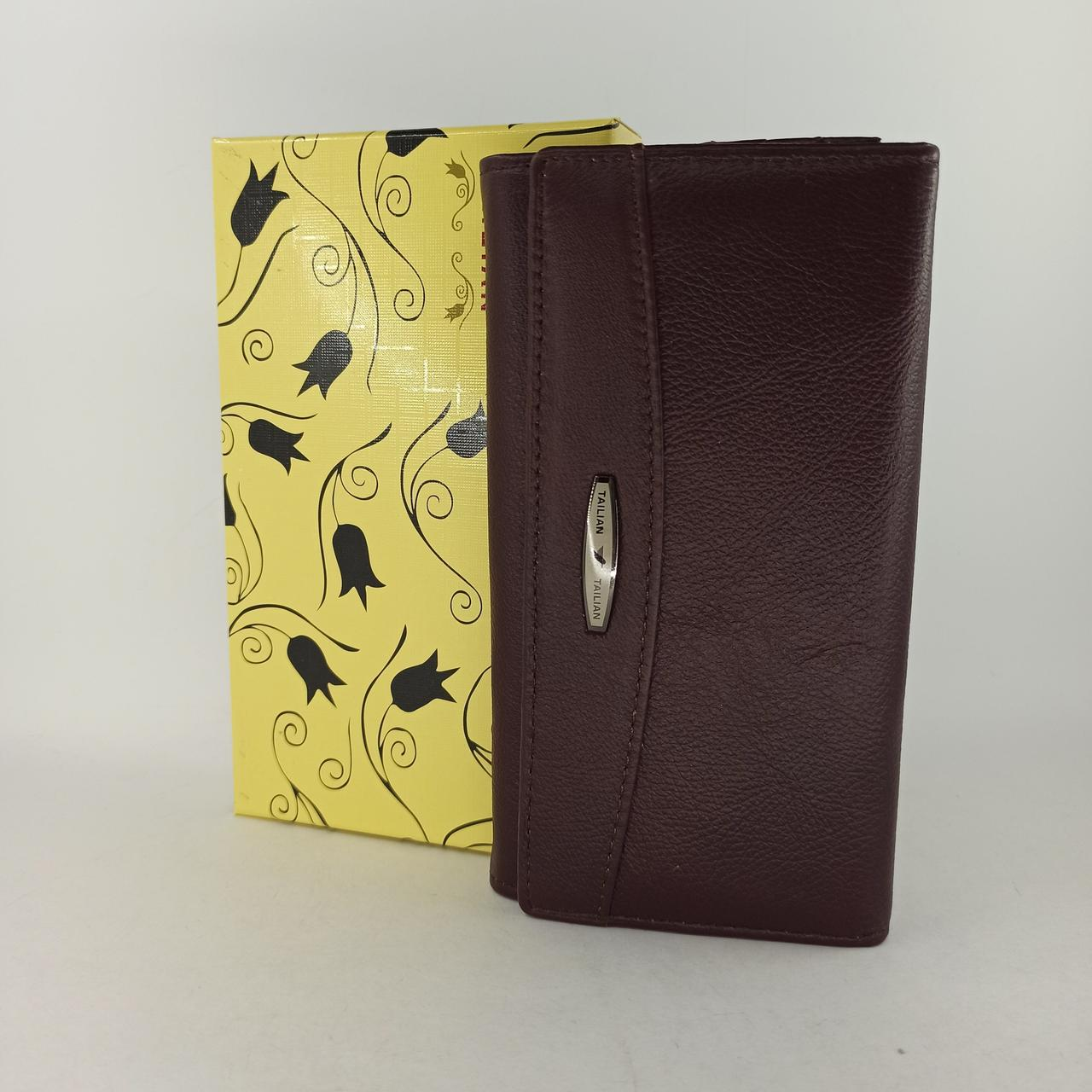 Класичний шкіряний жіночий гаманець / Классический кожаный женский кошелек Tailian T515 crimson