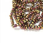 Бусины Гальваника Стекло, Граненые, Рондель, Цвет: Золотисто-розовый, Размер: 3х2мм, Отверстие: 1мм, около 196шт/40см/нить, фото 2