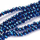Бусины Гальваника Стекло, Граненые, Рондель, Цвет: Синий, Размер: 8x6-7мм, Отв-тие: 1мм, около 72шт/49см/нить, фото 4