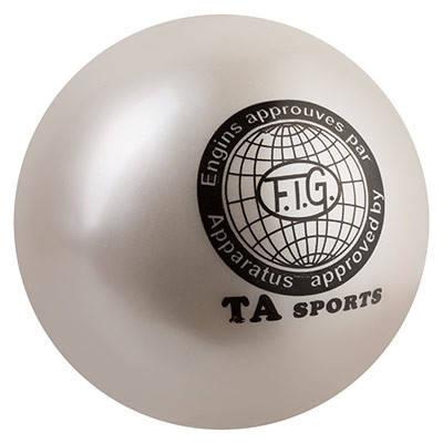 М'яч гімнастичний TA SPORT, 400грамм, 19 см, гліттер, білий, фото 2