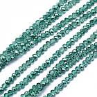 Бусины Стекло, Граненые, Рондель, Цвет: Зеленый Морской, Размер: 3х2.5мм, Отверстие 0.5мм, около 148шт/37см/нить, фото 2