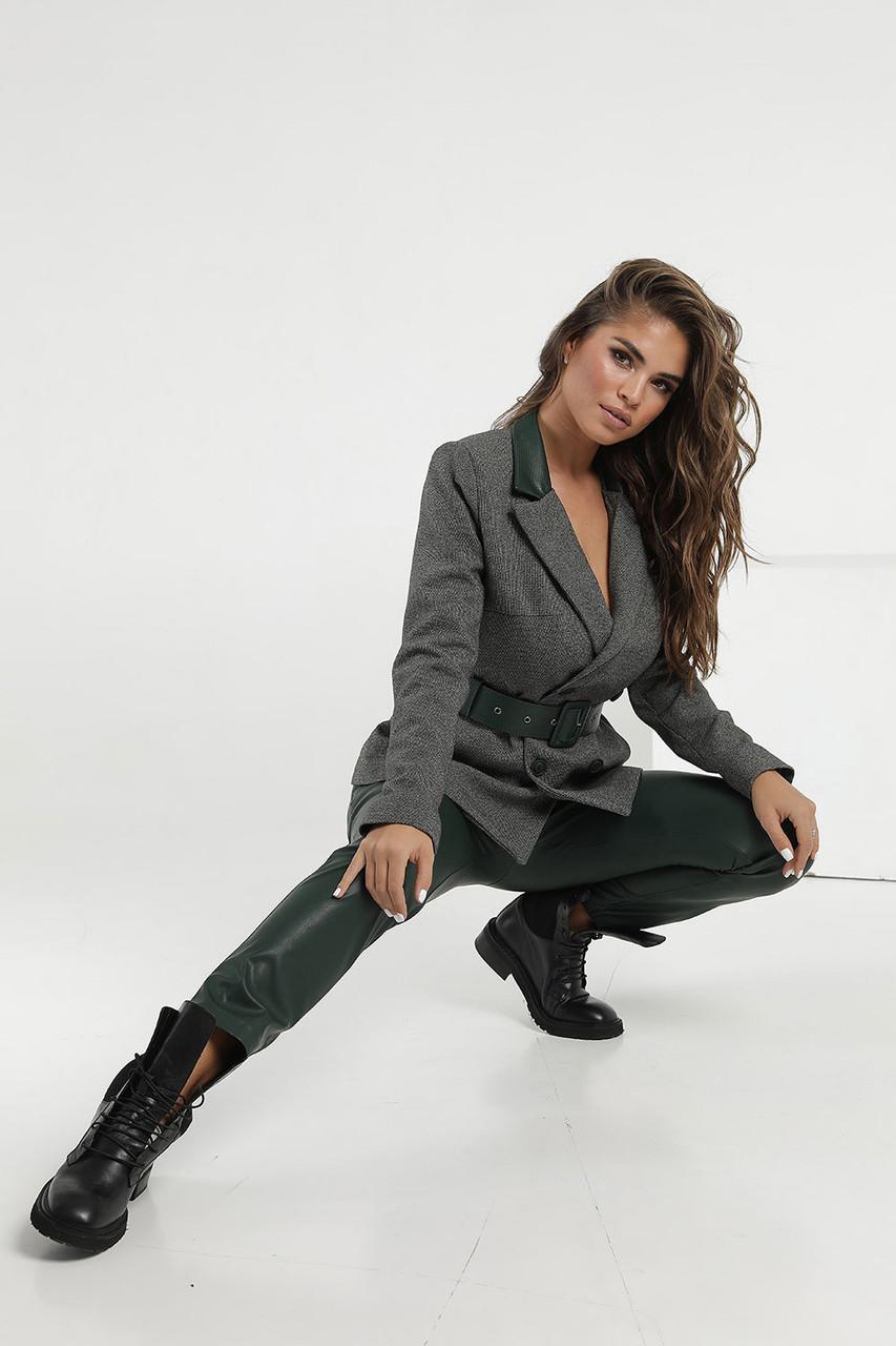 Зеленый Костюм с кожаными брюками