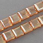 Бусины Гальваника Стекло АВ-Цвет, Граненые, Квадрат, Цвет: Оранжевый, Размер: 13x13x7.5мм, Отв-тие: 2мм, около 40шт/52см/нить, фото 2