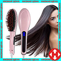 Распродажа! Электрическая расческа выпрямитель, Fast Hair Straightener HQT-906 Розовая, для выравнивания волос, фото 1