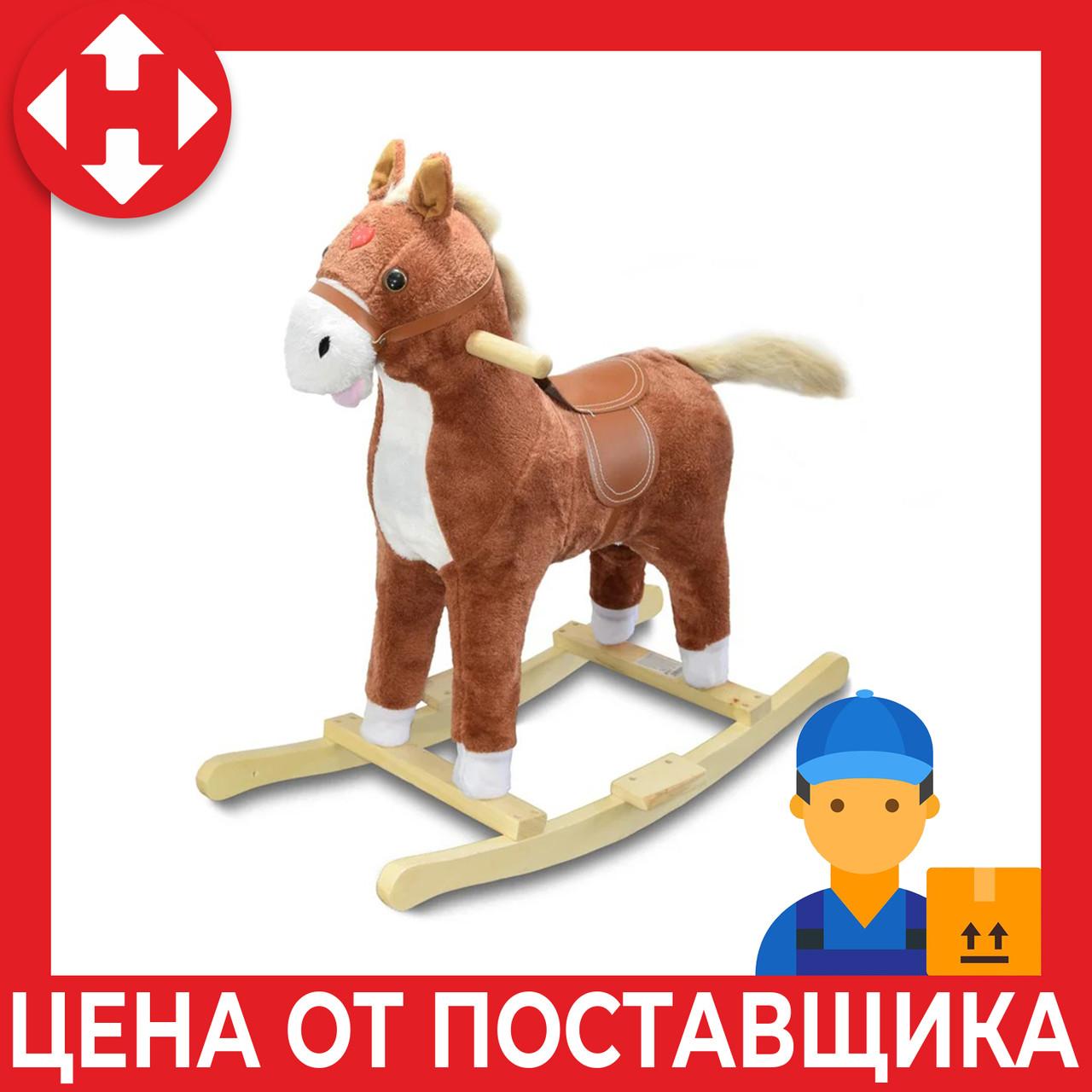 """Музыкальная лошадка качалка детская """"Поющий ковбойский конь"""", Плюшевый, Коричневый (высота - 62 см)"""