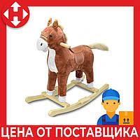 """Музыкальная лошадка качалка детская """"Поющий ковбойский конь"""", Плюшевый, Коричневый (высота - 62 см), фото 1"""