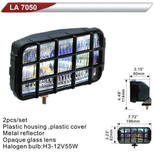 Фара дополнительная  DLAA 7050-RY/H3-12V-55W/196*82mm/решетка (LA 7050-RY)