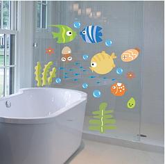 """Наклейки на стену, наклейки в ванную """"подводный мир"""" 44*25см рыбки"""