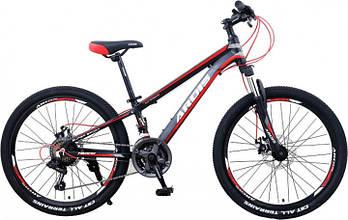 """Подростковый горный велосипед Ardis HILAND 24"""" алюминиевый, Черно-красный"""