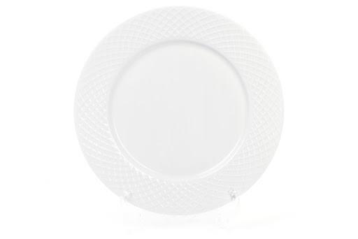 Тарелка фарфоровая обеденная 27см, цвет - белый+ подарок