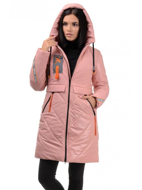 Зимняя молодежная удлиненная куртка с капюшоном Пудра 42,44,46,48,50 размер