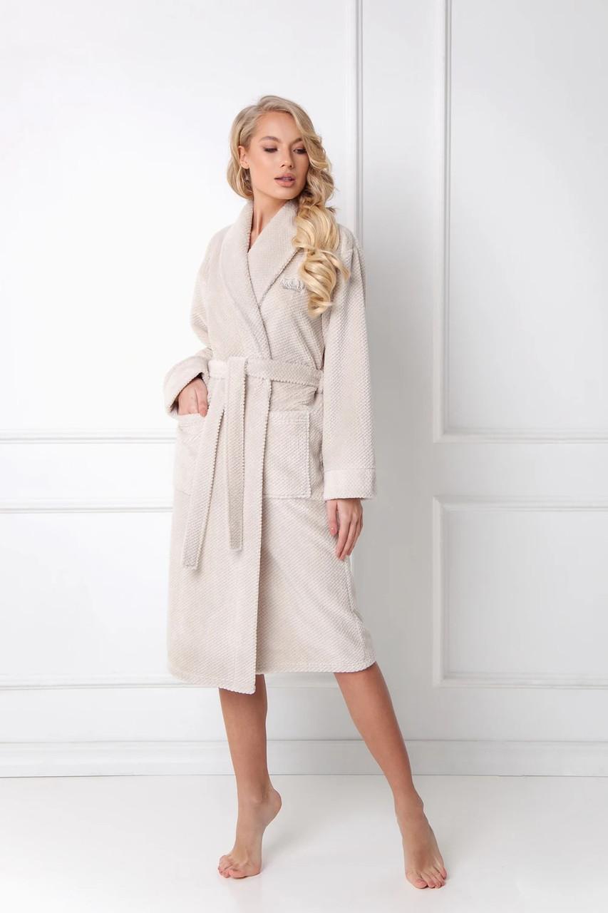 Довгий жіночий халат з шалькою ARUELLE KATE Beige