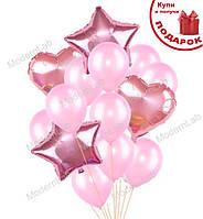 """Воздушные шарики """"Розовый микс"""" набор 14 шт"""