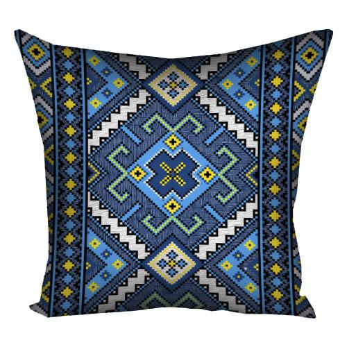 Подушка с принтом Український орнамент на синьому фоні 40x40 см (4P_15UKR025)