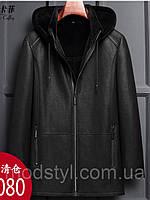 Зимнее меховое мужское кожаное пальто с капюшоном