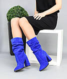 Женские замшевые сапоги с узким носком на каблуке электрик замша, фото 8