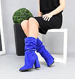 Женские замшевые сапоги с узким носком на каблуке электрик замша, фото 3
