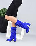 Женские замшевые сапоги с узким носком на каблуке электрик замша, фото 2