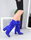 Женские замшевые сапоги с узким носком на каблуке электрик замша, фото 5