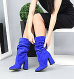 Женские замшевые сапоги с узким носком на каблуке электрик замша, фото 4