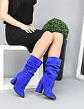 Женские замшевые сапоги с узким носком на каблуке электрик замша, фото 6