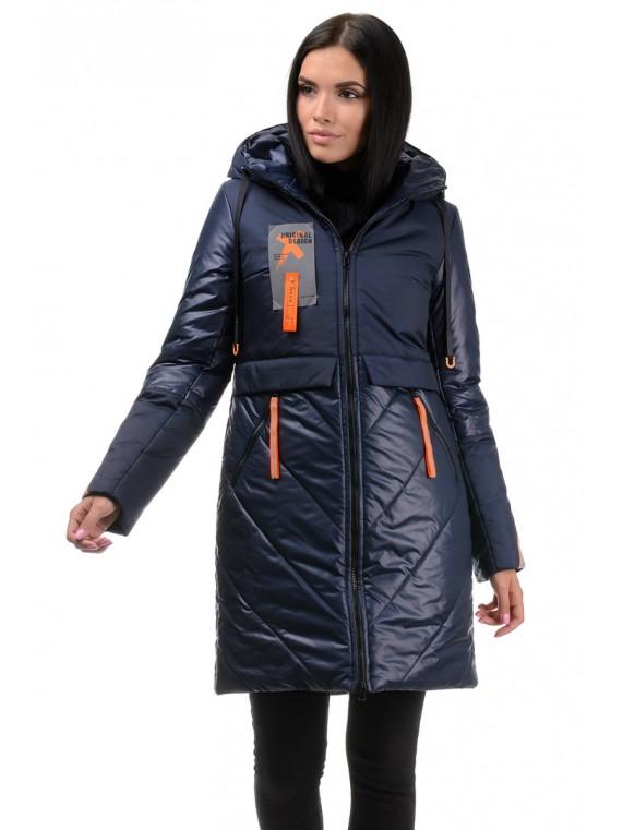 Зимняя молодежная удлиненная куртка с капюшоном Синяя 42,44,46,48,50 размер