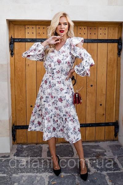 Женское белое платье миди с цветочным принтом
