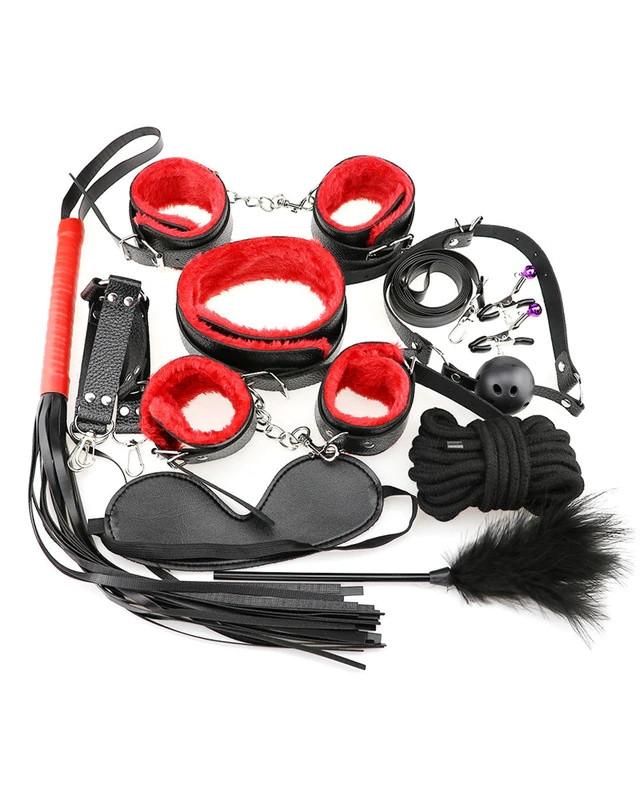 Набор для секса 10 предметов - черно-красный