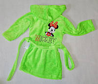 """Детский махровый халат """"Минни"""" для девочек, САЛАТОВЫЙ размер 60(30), 68(34), фото 1"""