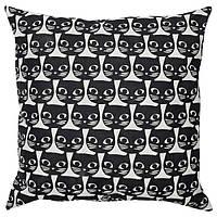 Подушка декоративная чёрно-белая кот 40x40 см IKEA ГЕРДІ ИКЕА